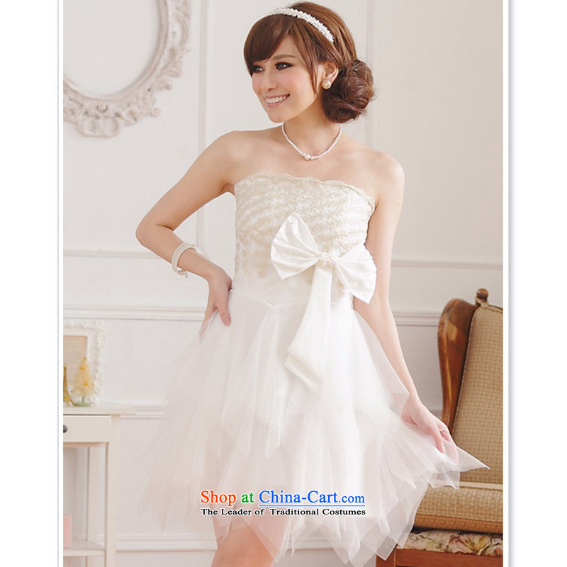 158 stylish and the Princess Mary Magdalene chest embroidered dress bridesmaid cake coagulates sister small dress large Bow Tie Top Loin of thick mm video thin princess skirt short skirt WhiteXL suitable for 115-135, 158 and shopping on the Internet has been pressed.