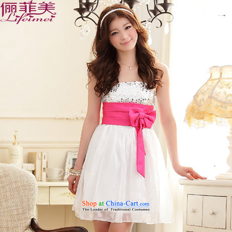 158 stylish and the princess skirt chest nail on-chip high elastic waist belt bow tie waist he evening dresses show annual small dress sister even turning skirt White?XL 115-135 for a catty