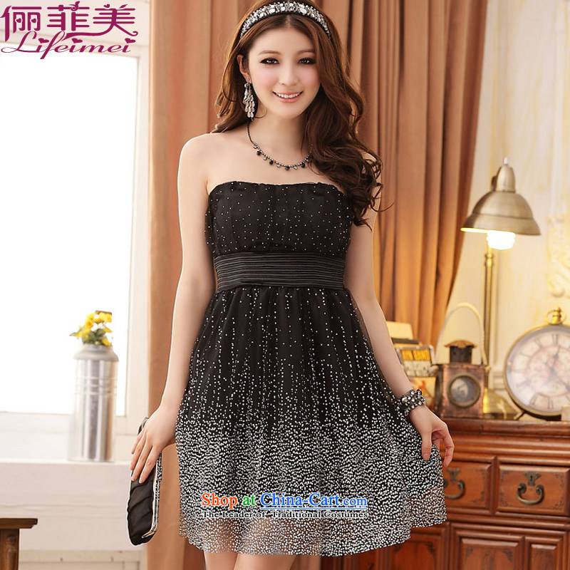 158 large and the anointed chest dresses evening dresses back tightness dress dot small dress Top Loin of Sau San Korean dresses Black?XL 115-135 for a catty