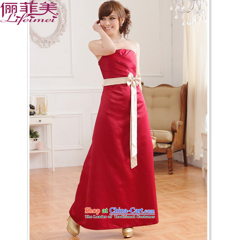 158, Beauty Chest wiped with stylish high-waist belt bow tie A large long version even turning skirt elegant graphics temperament bride evening dress bridesmaid sister long skirt the red are Code F