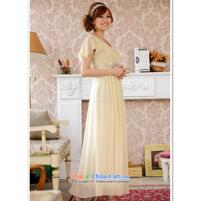 158, beauty with dress long evening dresses banquet with star temperament Fei Fei Sleeve V-Neck elastic waist with drill in smaller dress code F champagne color are 158 and shopping on the Internet has been pressed.
