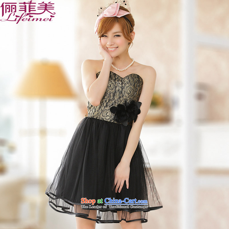 Li and the western temperament black evening performances by wiping the chest annual small dress noble emulation kidney Top Loin of thick mm even turning skirt video large thin golden�XXL suitable for 135-155 skirt catty