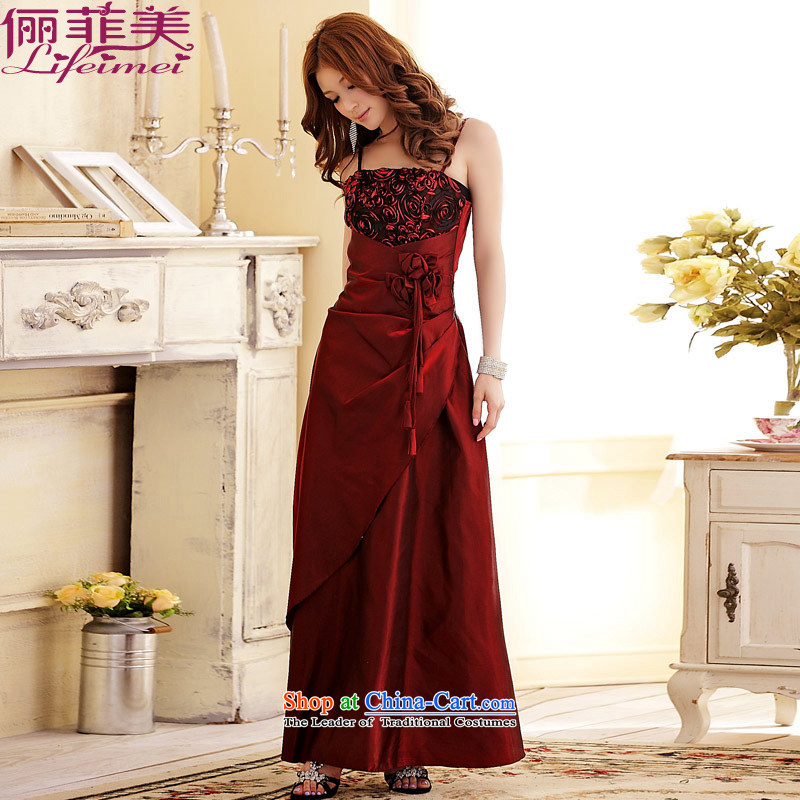 Li and the lifting strap long dresses large western female stereo kidney generating belly bride evening dresses form a large even turning skirt wine red?XL suitable for 120-140 catty