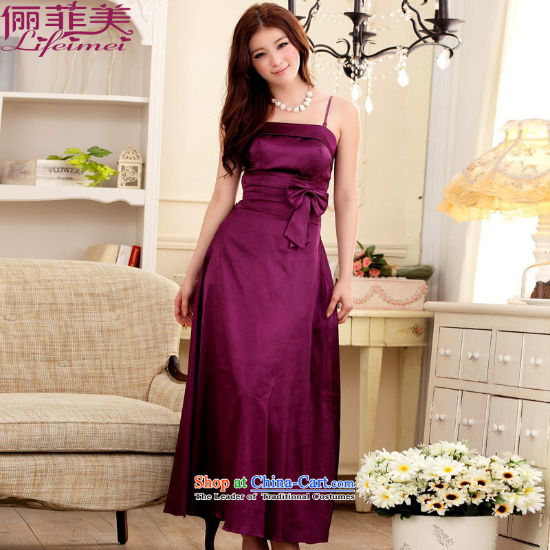 Li and the Western big temperament strap Top Loin of large plus a skirt back tightness strap evening dress annual meeting under the auspices of dress purpleXXXL 155-175 for a catty