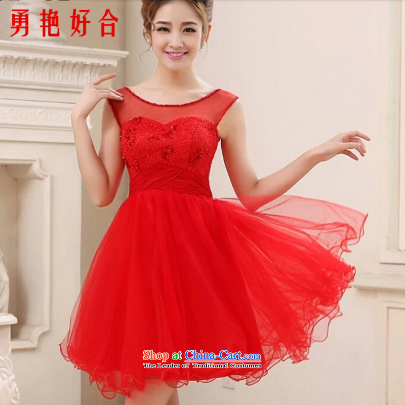 Yong-yeon and 2015 New Red bows to the bride pregnant women serving toasting champagne stylish wedding dress short of pregnant women dress red?L