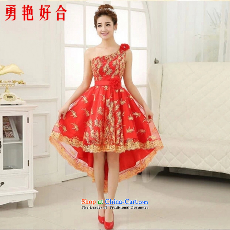 Yong-yeon and 2015 New Small Dress Short of marriages bows services bridesmaid wedding dresses dresses female evening shoulder red single shoulder?XXL not refunded