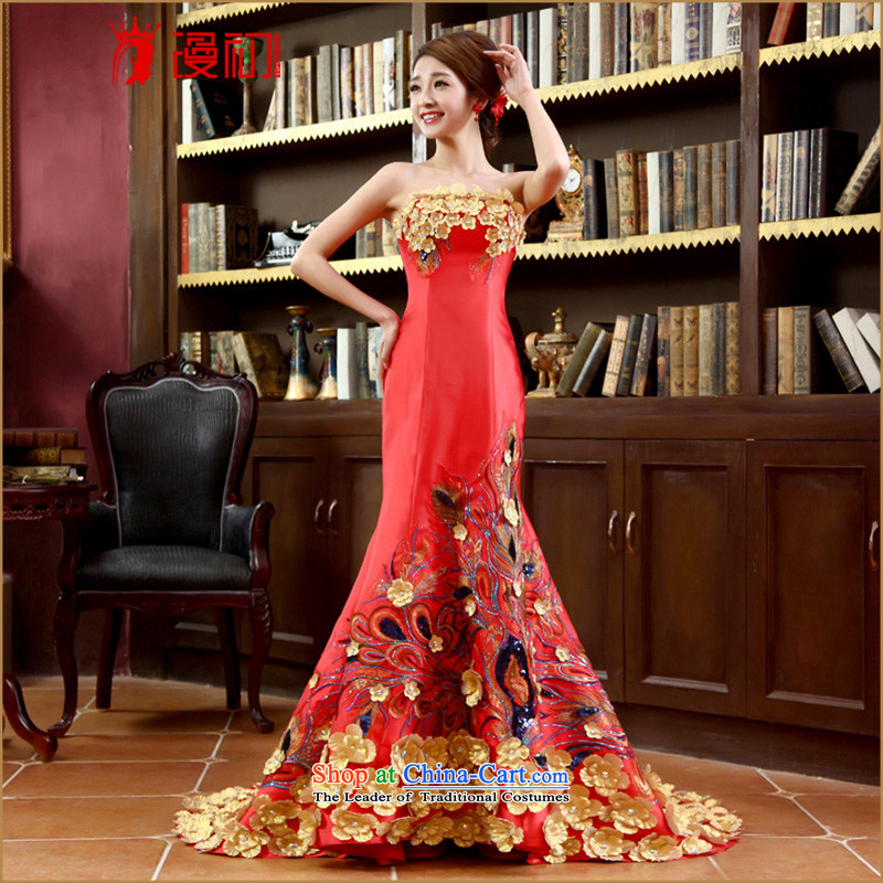 In the early 2015 new man evening dresses bride anointed chest long red tail to align the evening with a couplet bride qipao tail,?XXL