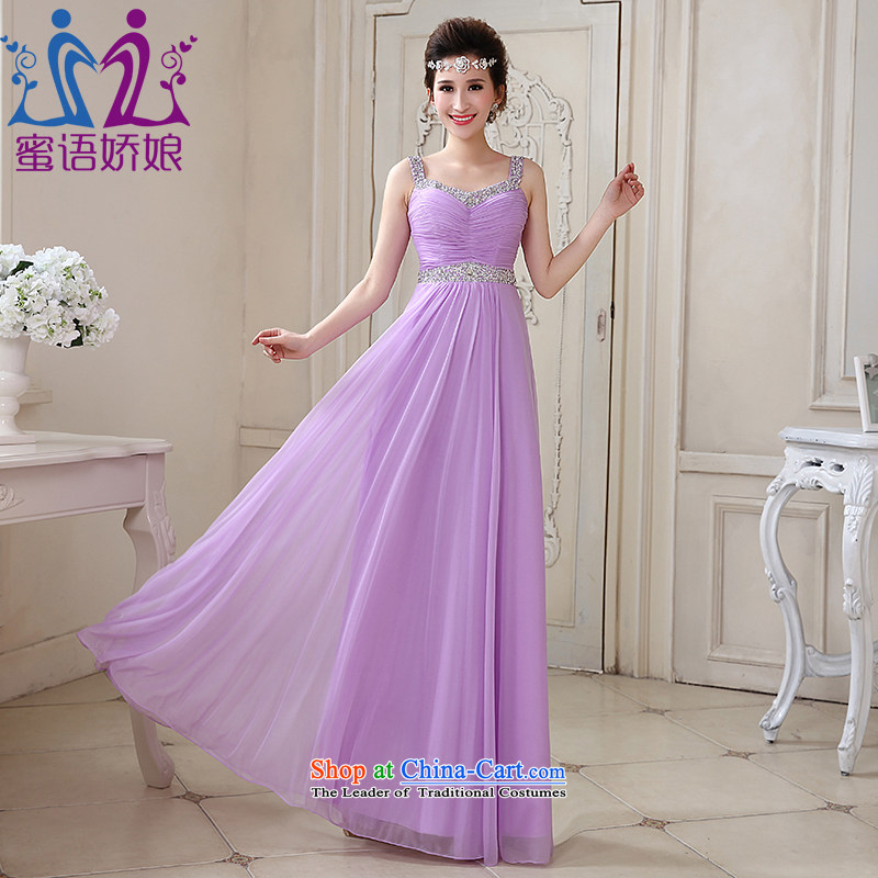 Talk to her new 2015 long evening dresses purple strap bride bows services version of large stylish code Korea wedding dress with a light purple L