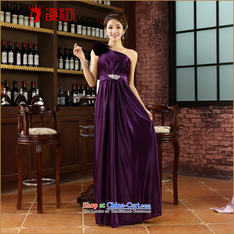 In the early 2015 new man dress marriages bows long gown banquet shoulder fox gross autumn and winter and sexy dress purpleXXL