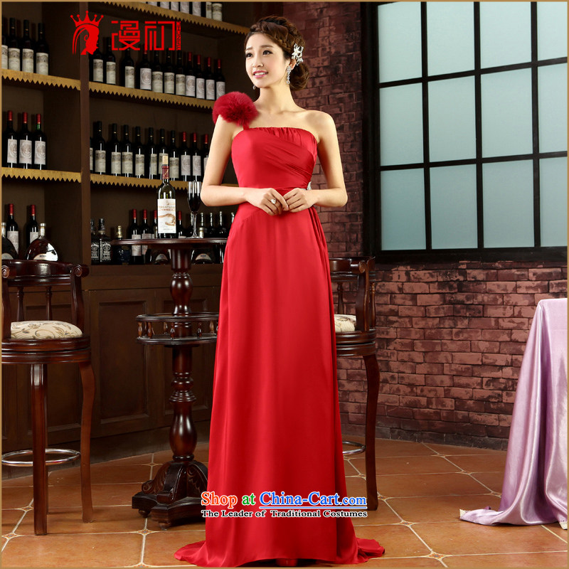 In the early 2015 new man dress shoulder long marriage bows service banquet evening dress spring and summer fox gross dress red�XXL