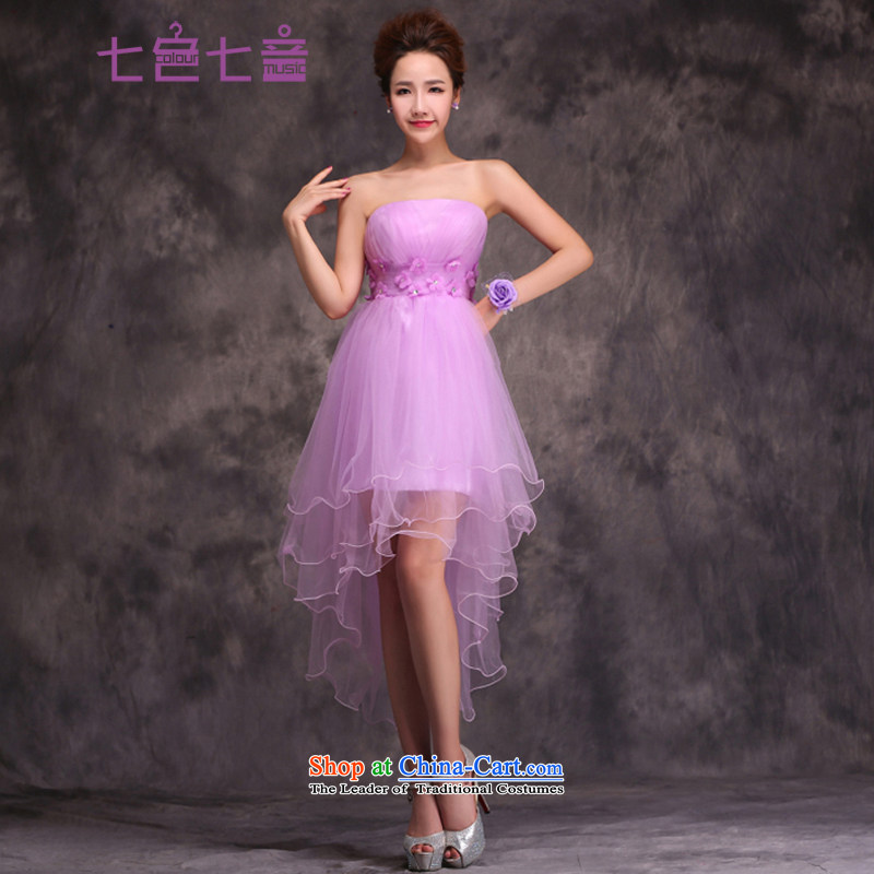 7 Color 7 tone Korean bridesmaid in 2015 evening dresses purple solid color banding short, sister performed small dress?L016?purple F?S