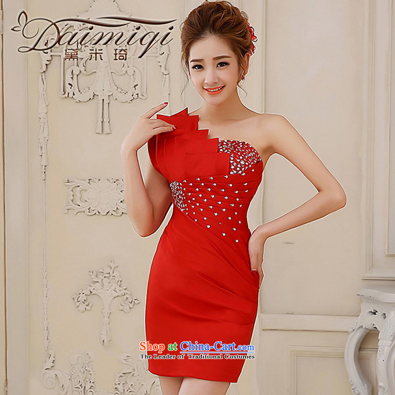 Wedding dress 2014 new shoulder pink dresses Sau San small video thin dress Sau San sweet dress skirt red?XL