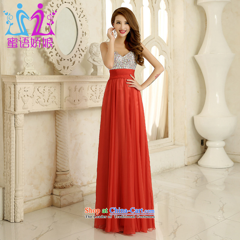 Talk to her?new Marriage Ceremony 2015 Ms. V-Neck long stylish bride with a drink to the annual meeting of persons chairing evening dresses red?L