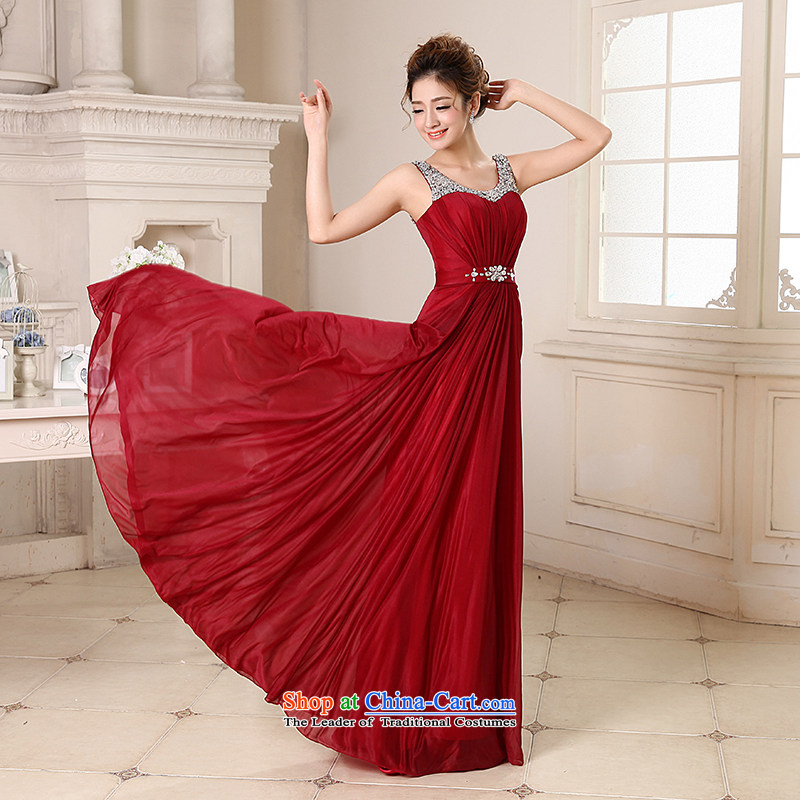 Talk to Her dress long 2015 new Korean fashion V-Neck Bridal Services under the auspices of dress bows to larger evening banquet dress wine red M whisper to Madame shopping on the Internet has been pressed.