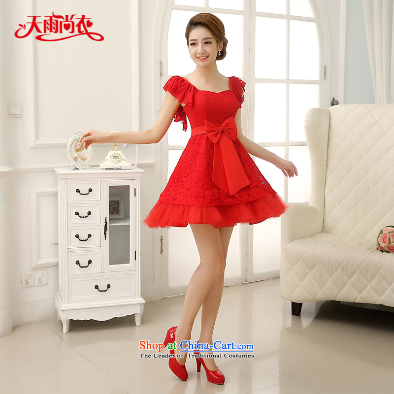 Rain-sang Yi marriages 2015 new red short, wedding Korean Princess shoulders lace sweet bridesmaid small dress LF199 RED?S