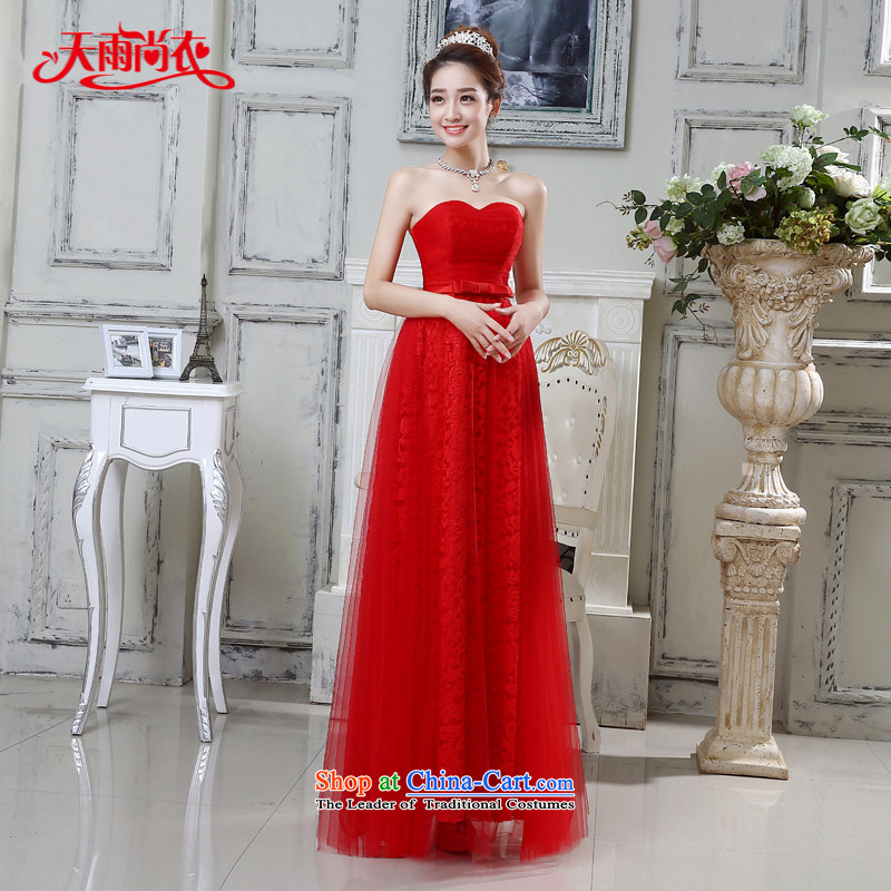 Rain-sang Yi marriages 2015 new wedding elegant long red bows to wipe the chest lace wedding dress LF200 RED?XXL