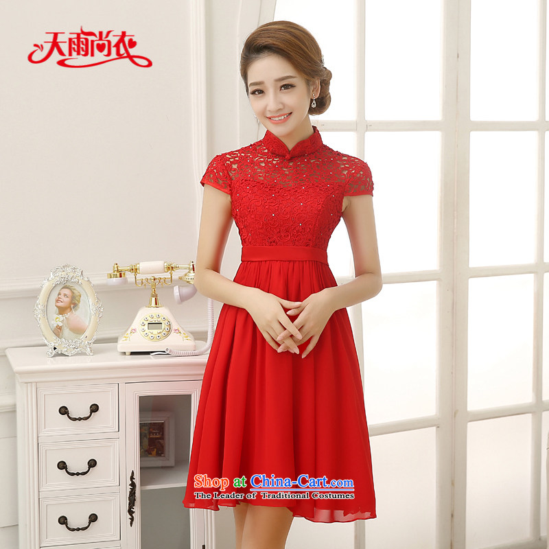Rain-sang Yi marriages 2015 new wedding Korean Top Loin of pregnant women serving drink chiffon lace short skirt short of small dress LF202 RED?XXL