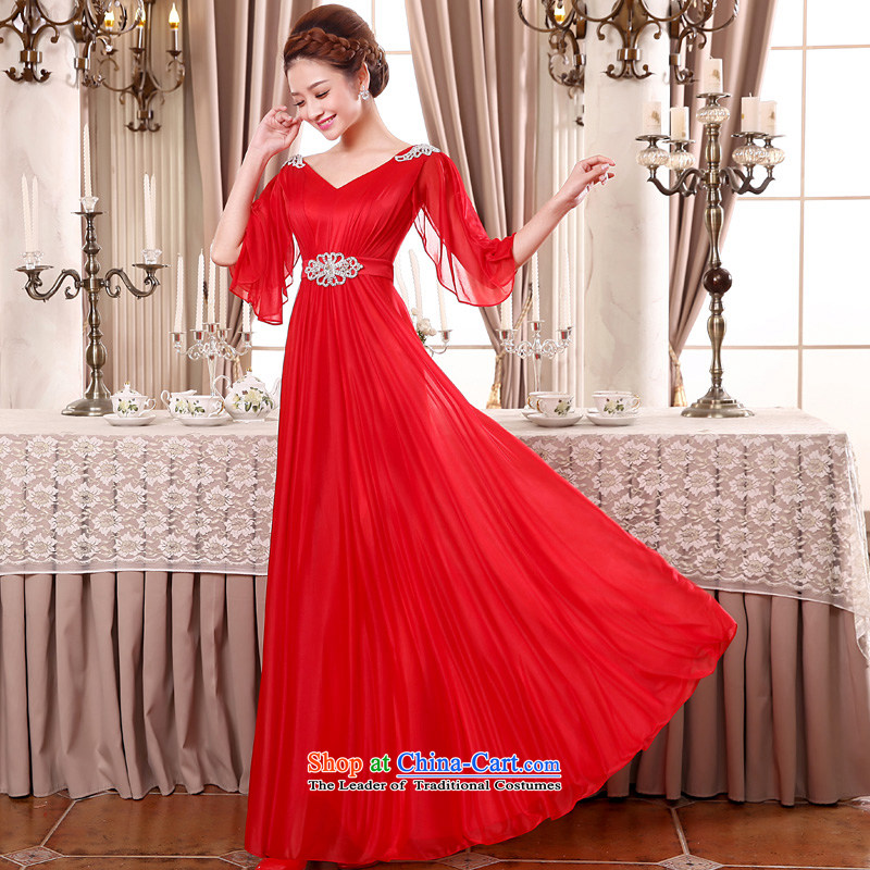 The privilege of serving-leung 2015 new big red code bride wedding dress long thick MM evening dresses evening drink service Red�2XL
