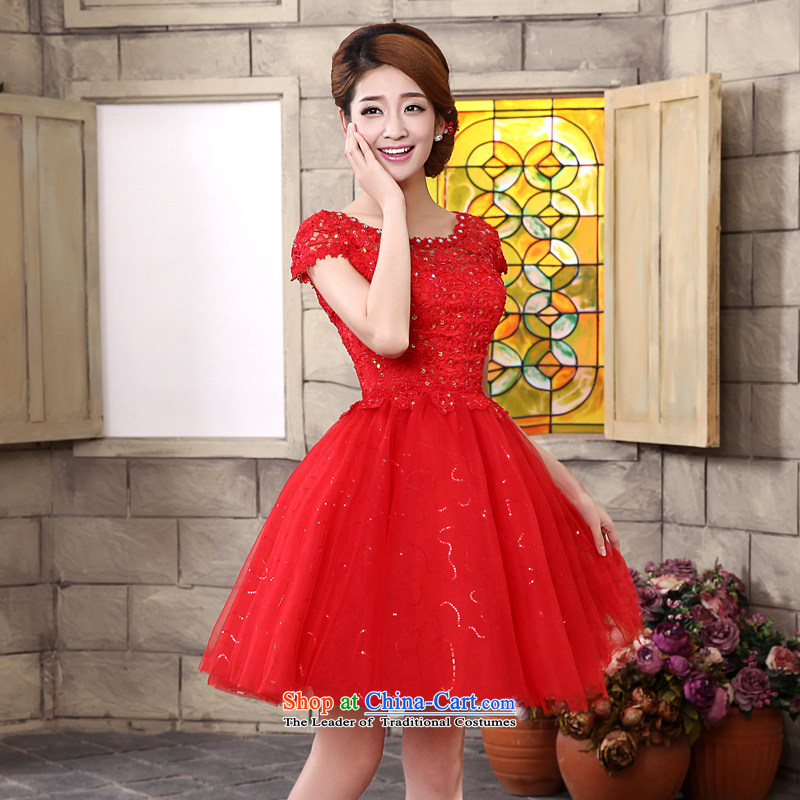 The privilege of serving-leung 2015 new shoulders round-neck collar short of red lace marriages princess bon bon skirt wedding dress red made no refund is not shifting size message