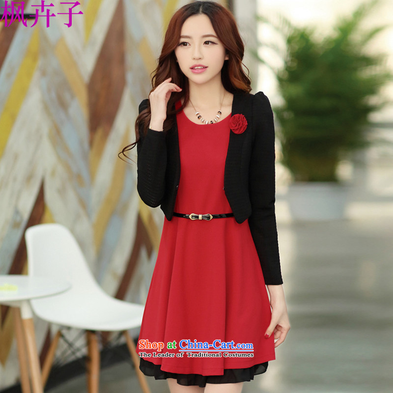 Maple Hui-chun boxed version Korea 2015 two-piece suit in small waist chiffon dress skirt F3268 RED?M