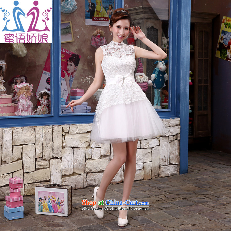 Talk to her new 2015 short white, wedding bridesmaid services lace Princess Korean betrothal small dress, declares dress white?L