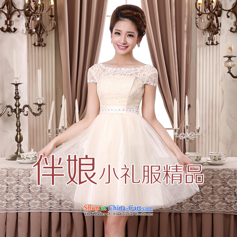 The privilege of serving-leung 2015 new marriage short) bows bridesmaid mission bridesmaid skirt bon bon skirt small dress evening dress champagne color XL