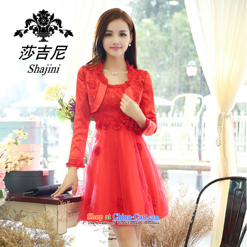 Elizabeth,?2015 New aristocratic small-long-sleeved Sau San A word wind dresses wedding dress two kits female autumn?9905D replacing?RED?M