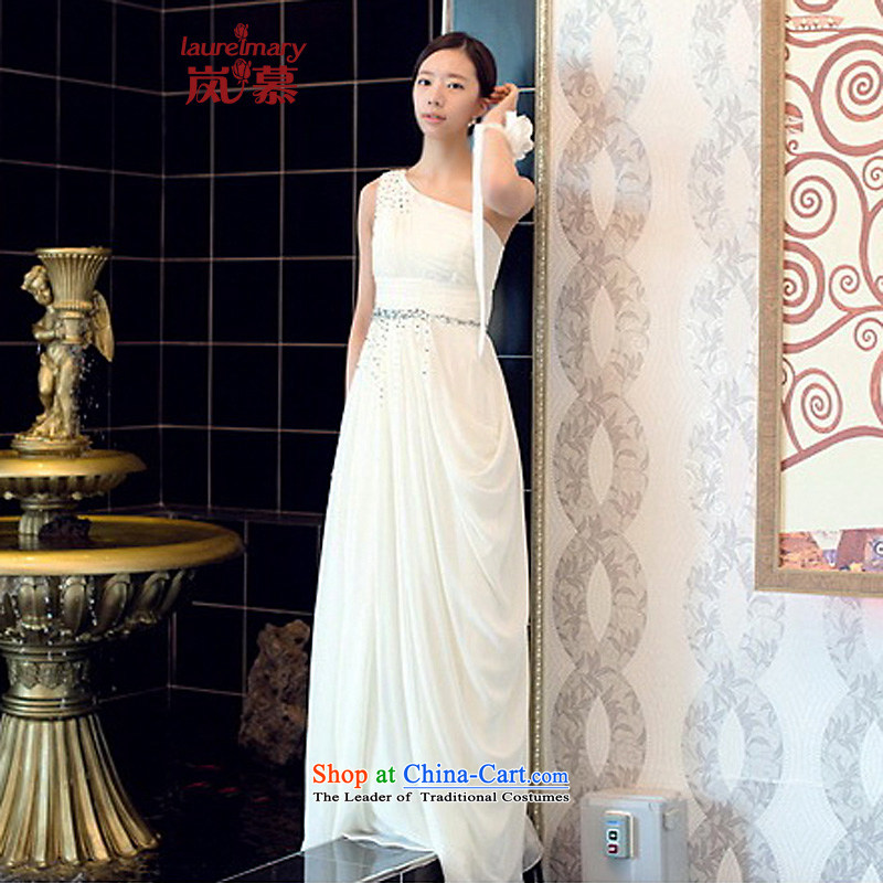 The sponsors of the 2015 New LAURELMARY, Korean lovely shoulder chiffon manually Stitch pearl small A swing style to align the Sau San bridal dresses White?M chest 85 Waist69)