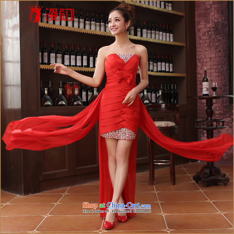 In the early 2015 new man marriages wedding dresses before long after a short skirt and dress small chest bridesmaid services evening dresses red?XXL