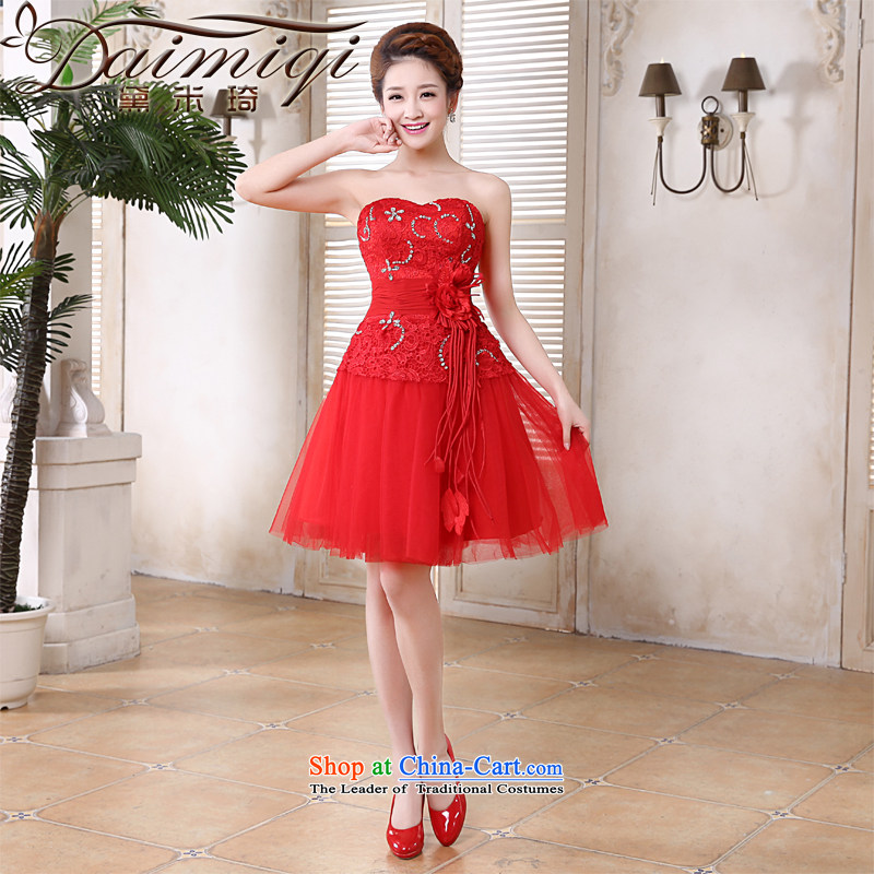 Doi m qi bridal dresses 2014 Marriage betrothal bows services bridesmaid small dress skirt red Korean anointed lace short skirts of chest sister skirt RED M
