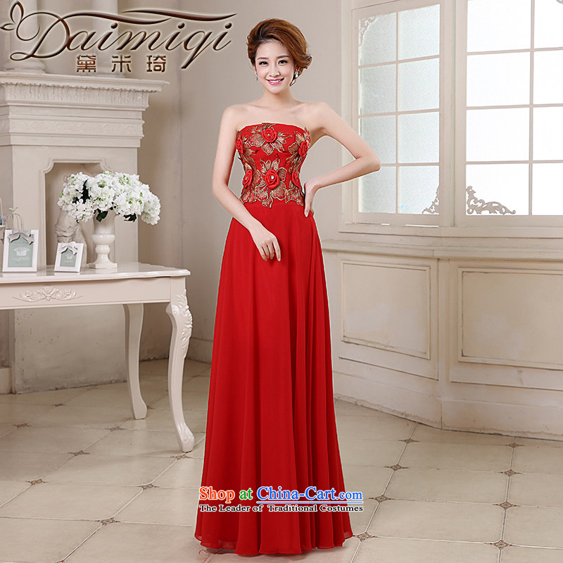Doi m qi bridal dresses 2014 new marriages bows services moderator evening show video thin stereo manually flowers embroidery anointed chest gown RED?M