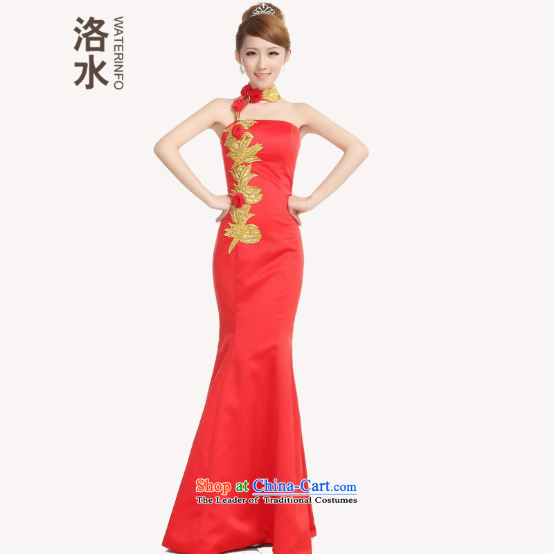 The water fall new marriages bows dress the lift mast red dress crowsfoot embroidery Rose Chinese long improved cheongsam red?XXL