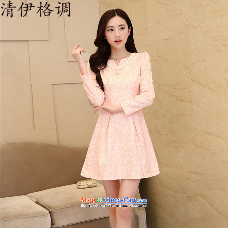 Definition of Style?2015 spring and fall new Korean president embossing elegance bridesmaid Sau San dress dresses QY1055 pink?M code