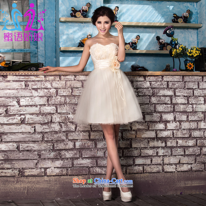 Talk to her?new 2015 bridesmaid service, wedding dresses and small strap chest bon bon skirt Korean bows dress champagne color?L
