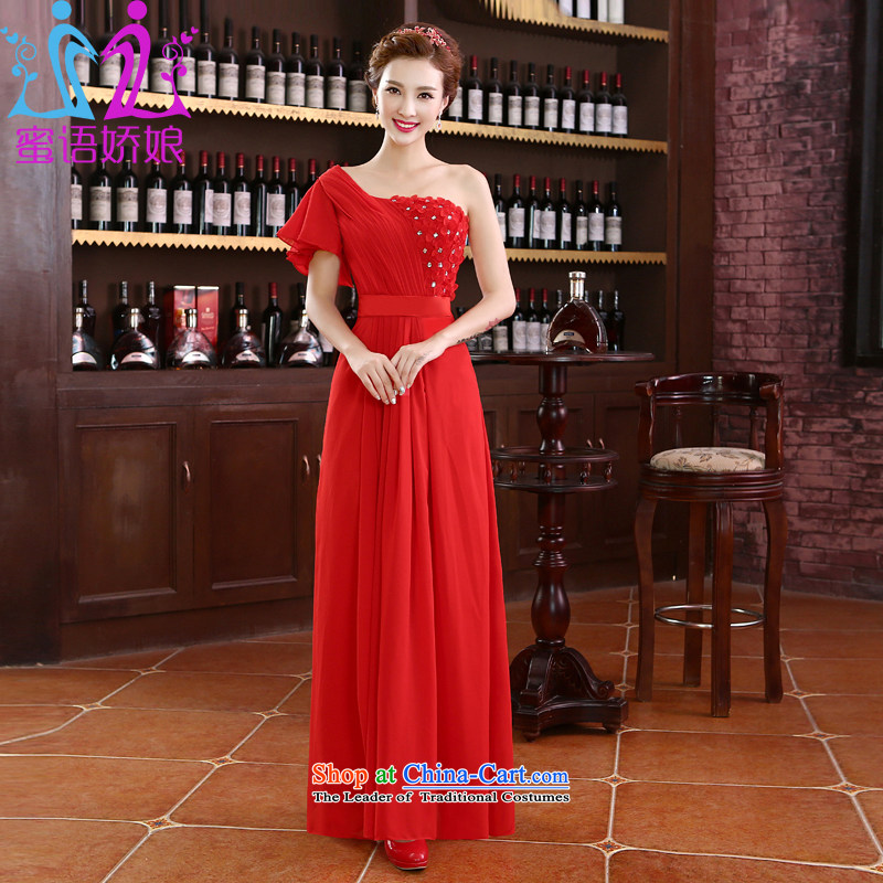 Talk to the?new 2015 Madame single shoulder length) Red Dress bride bows services for larger marriage Korean video thin stylish elegance female red tailored