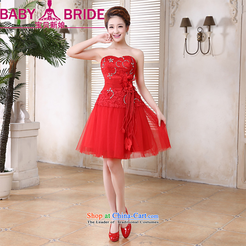 Baby bridal dresses 2014 Marriage bows services bridesmaid small dress sister mission skirt red tie Korean anointed chest lace short skirt�XXL