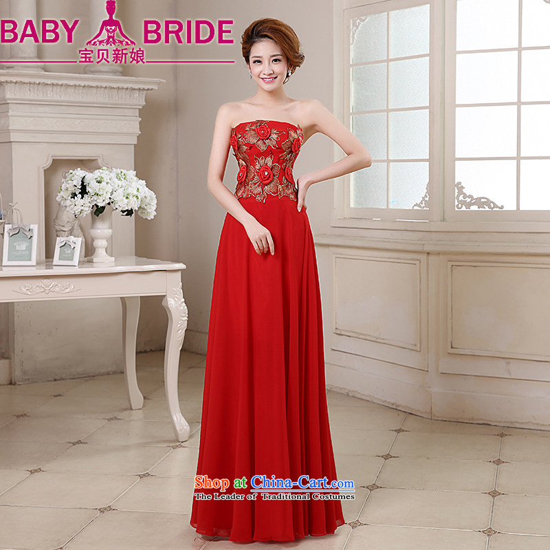 Baby bridal dresses 2014 new marriage bows service events including weddings evening video thin stereo rose blossoms anointed chest gown red L