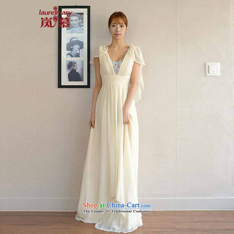 The sponsors of the 2014 New LAURELMARY, Korean aristocratic princess shoulders low breast height waist creases video thin zipper chiffon align to the bridal dresses ivory?XL( chest 95 Waist79)