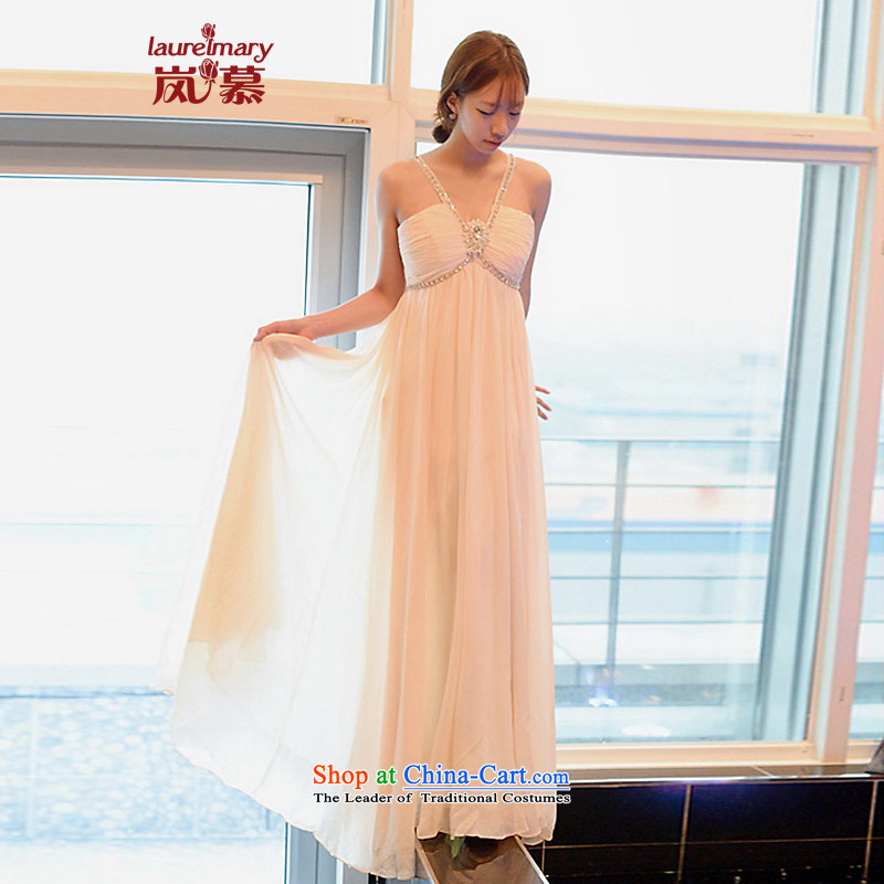 The sponsors of the 2014 New LAURELMARY, Korean sweet romantic hanging strap is also low breast height waist chiffon to align the Sau San bridal dresses ivory?L chest 90 Waist74_
