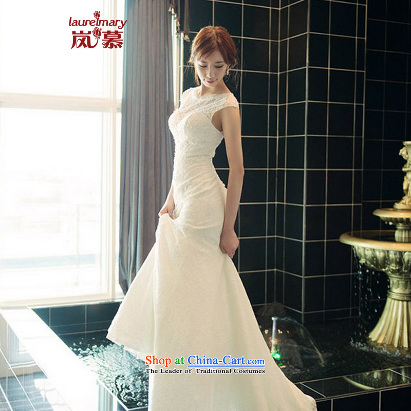 The sponsors of the 2014 New LAURELMARY, Korean noble atmosphere lace stitching round-neck collar package and back Sau San to align the tail evening dresses white L chest 90 Waist74_
