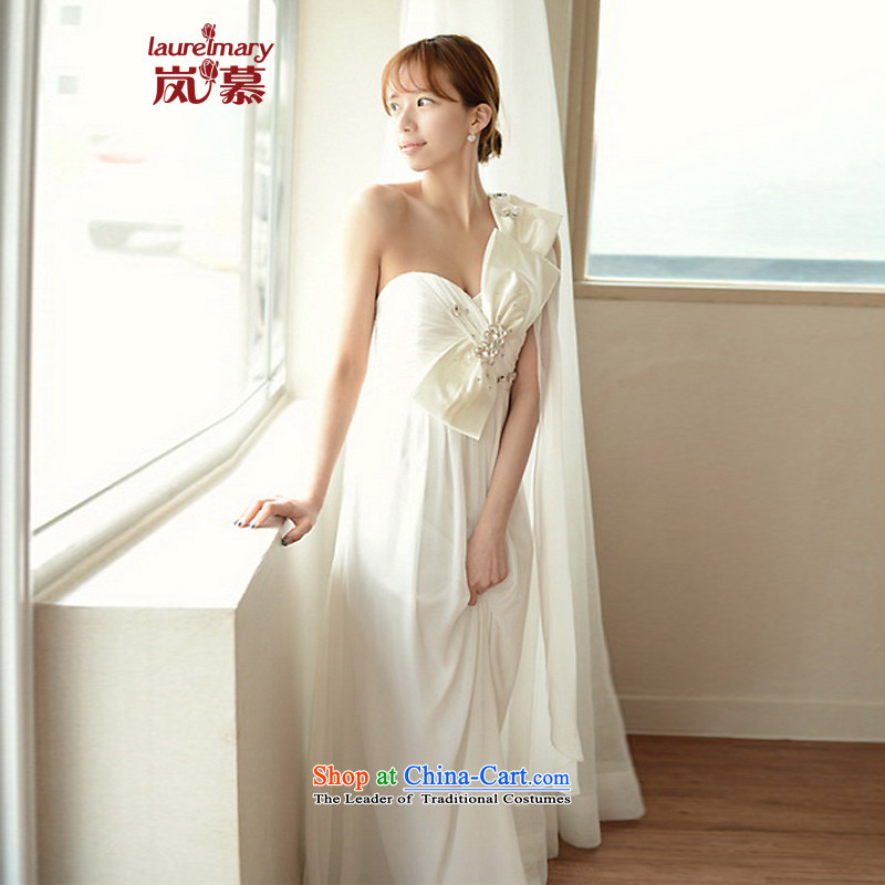 The sponsors of the 2015 New Korean noble bow tie wrap Beveled Shoulder Chest Foutune of Sau San-sin to align the chiffon bridal dresses?XL_ white breast 95 Waist79_