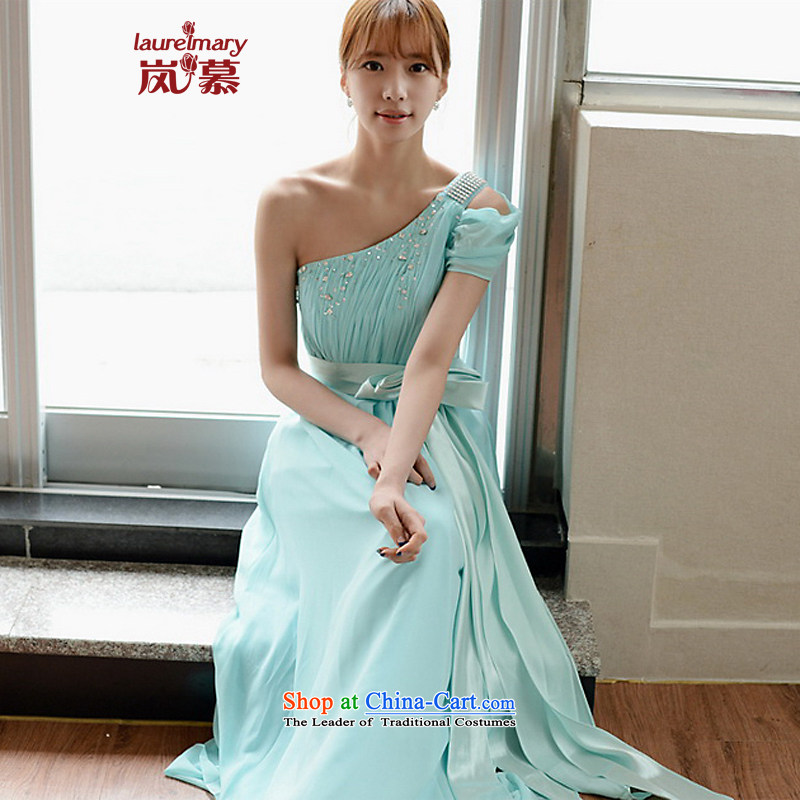 The sponsors of the 2015 New LAURELMARY, Korean fresh sweet Beveled Shoulder-rotator cuff manually Stitch pearl lap video thin zipper chiffon align to dress as Figure Color?XL( chest 95 Waist79)
