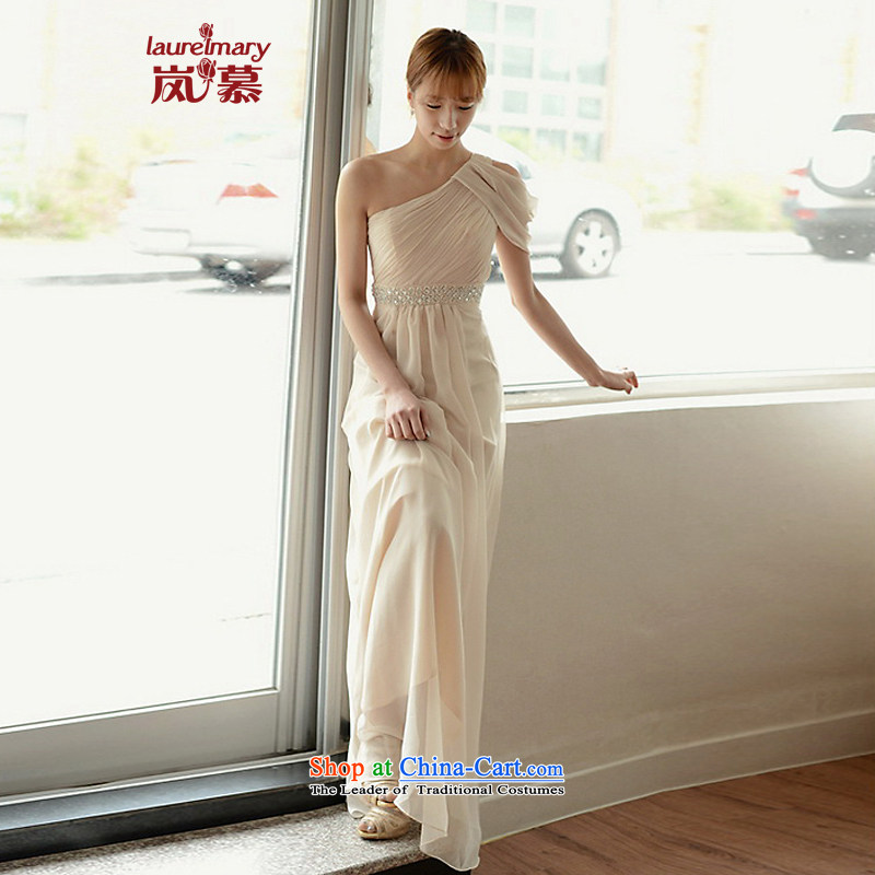 The sponsors of the 2015 New LAURELMARY, Korean stylish and simple Beveled Shoulder manually Stitch pearl Foutune of video thin zipper chiffon align to the bridal dresses ivory?L chest 90 Waist74)