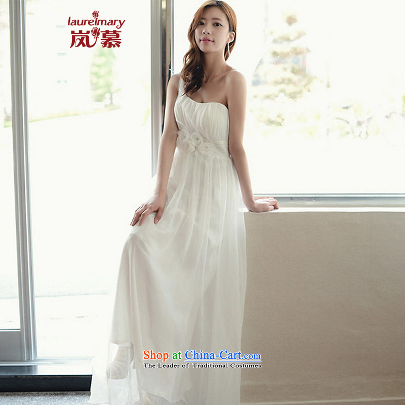 The sponsors of the 2015 New LAURELMARY, Korean Dream Princess shoulder flowers Foutune of video skinny A swing school to align the chiffon bridal dresses XL_ white breast 95 Waist79_