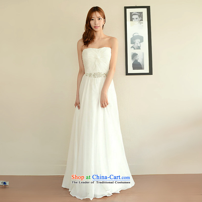 The sponsors of the 2015 New LAURELMARY, Korean exquisite simplicity and wrinkled anointed chest foutune manually Stitch pearl chiffon align to the bridal dresses ivory?XL( chest 95 Waist79)