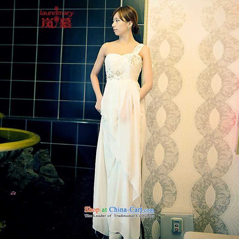 The sponsors of the 2015 New LAURELMARY, Korean shoulder higher gliding gently waist manually beaded chiffon align to Sau San bride dress White?M chest 85 Waist69)