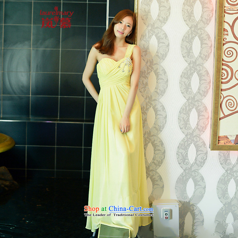 The sponsors of the 2014 New LAURELMARY, Korean classic sweet shoulder creases wrapped around his waist he received breast height graphics thin chiffon align to the bridal dresses light yellow?XL( chest 95 Waist79)