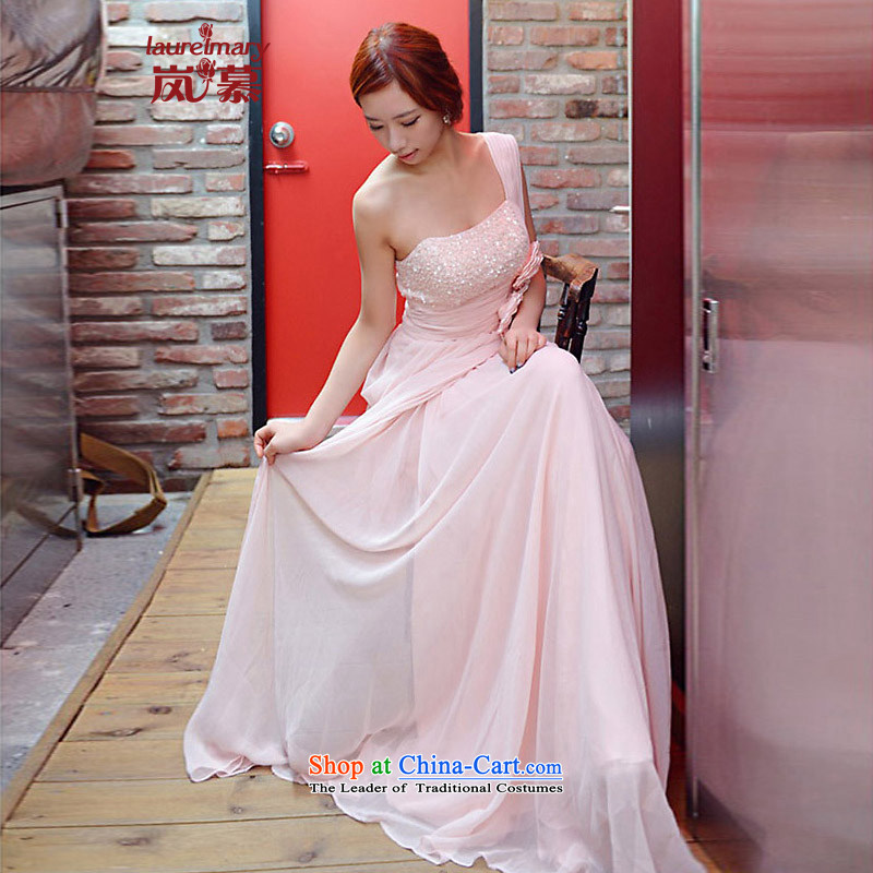 The sponsors of the 2014 New LAURELMARY, Korean name Yuan wind shoulder on-chip high-lumbar flowers Sau San creases petticoats chiffon align to the bridal dresses light pink?XL( chest 95 Waist79)