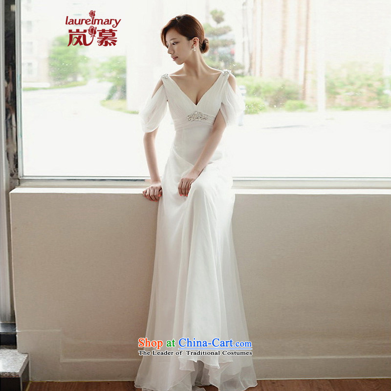 The sponsors of the 2014 New LAURELMARY, Korean soft and beautiful antique shoulders deep V high waist small A swing chiffon align to dress Sau San wine red?L 90 waist chest74)