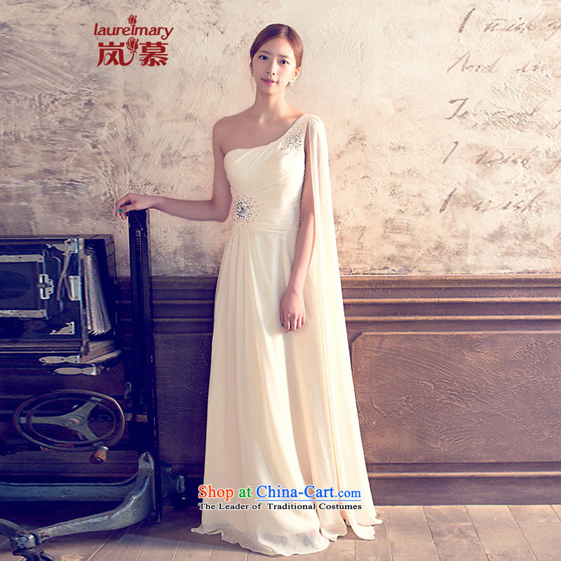 The sponsors of the 2014 New LAURELMARY, Korean charming gliding Beveled Shoulder Foutune of creases chiffon to align the Sau San bridal dresses ivory L chest 90 Waist74_